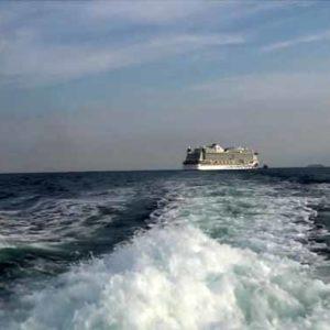 Fünf Kreuzfahrtschiffe liegen in der Ålbæk Bugt vor Anker und warten darauf, dass die Kreuzfahrtindustrie wieder startet